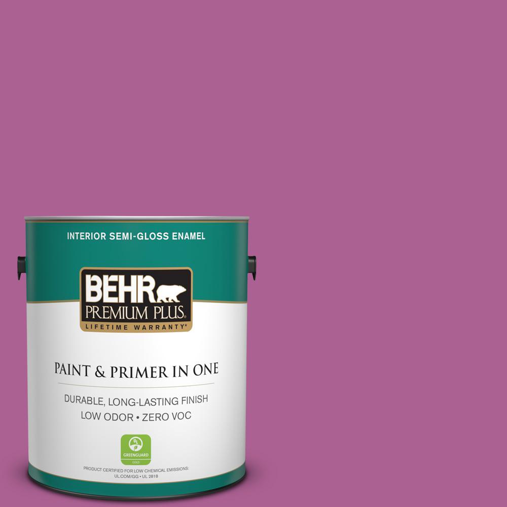 1-gal. #680B-6 Exotic Bloom Zero VOC Semi-Gloss Enamel Interior Paint
