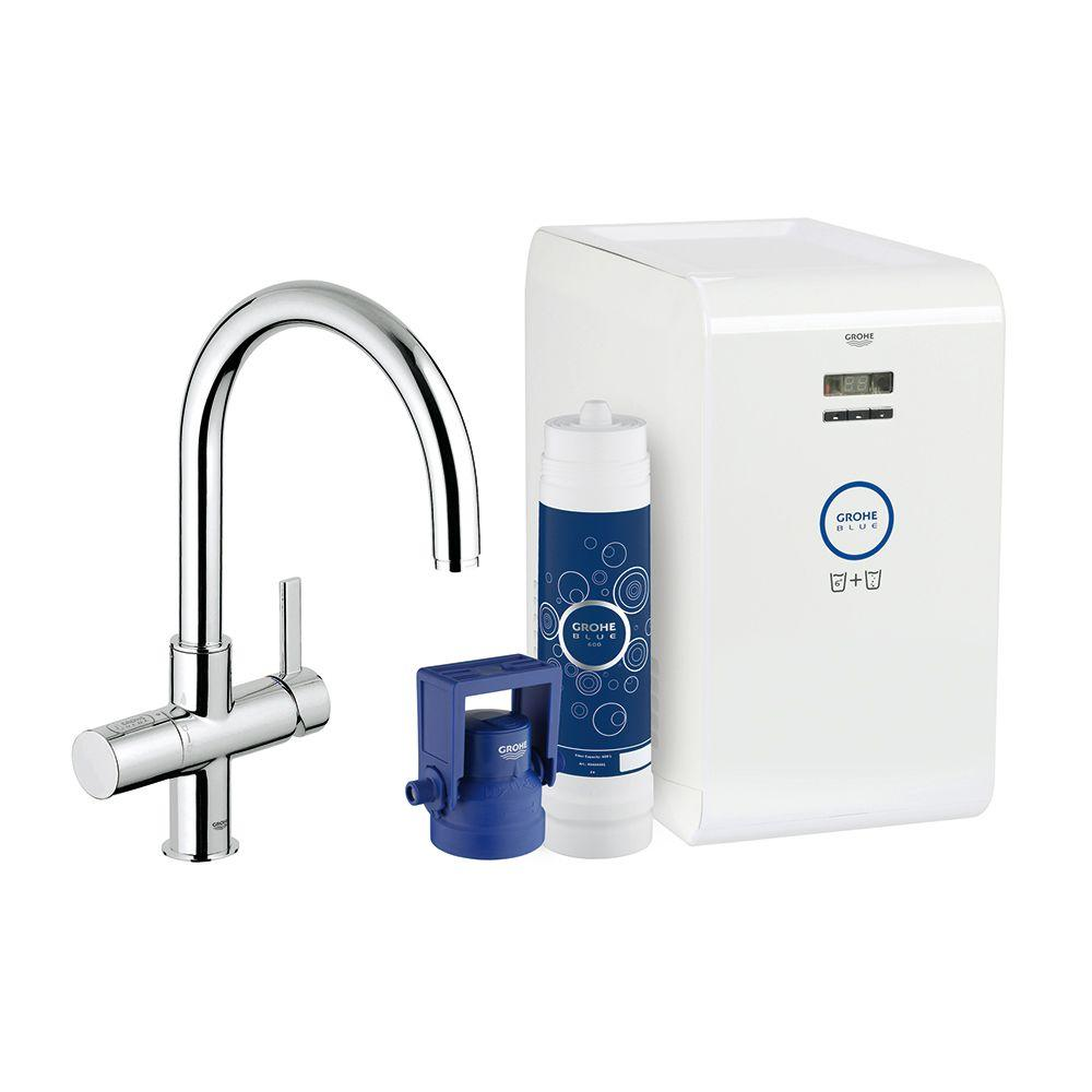 grohe blue chilled sparkling 2 handle standard kitchen faucet in starlight chrome 31251001. Black Bedroom Furniture Sets. Home Design Ideas
