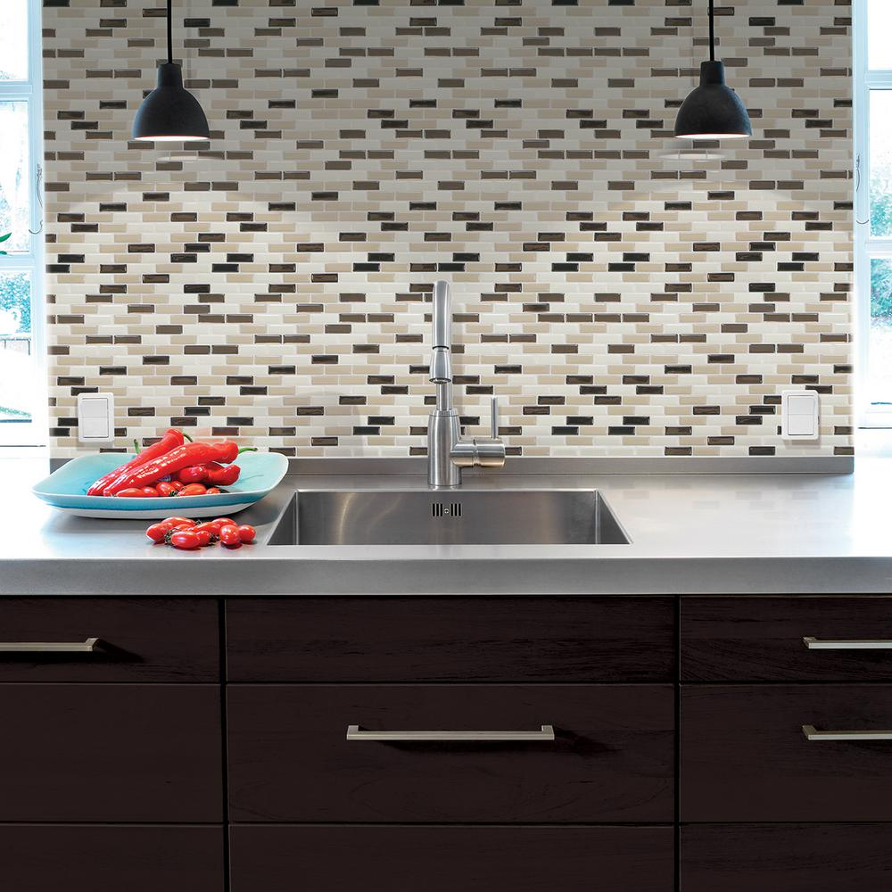 Smart tiles tile backsplashes tile the home depot murano dune 1020 in x 910 in peel and stick decorative dailygadgetfo Gallery