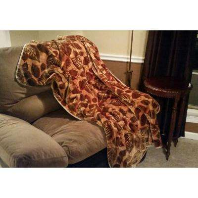 Brown Polyester Patterned Throw