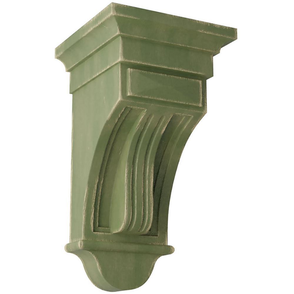 6-1/2 in. x 12 in. x 6-1/2 in. Restoration Green Raised Fluting Wood Vintage Decor Corbel