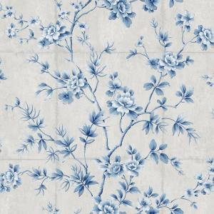 Great Wall Metallic Silver And Sky Blue Floral Wallpaper