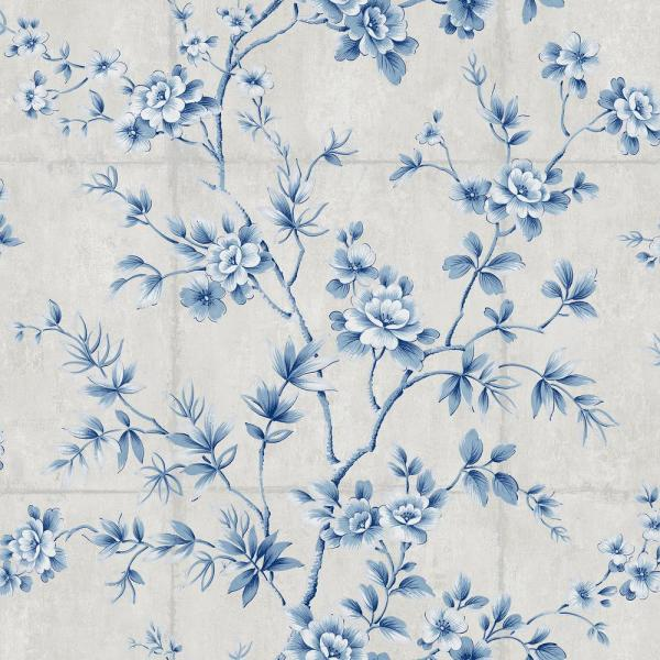 Seabrook Designs Great Wall Metallic Silver and Sky Blue Floral Wallpaper