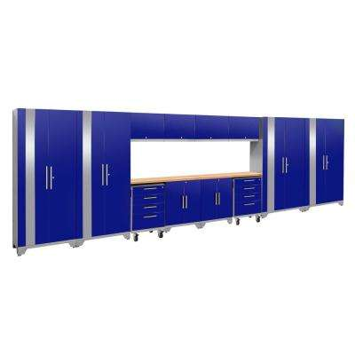 Performance 2.0 77.25 in. H x 216 in. W x 18 in. D 24-Gauge Welded Steel Bamboo Worktop Cabinet Set in Blue (14-Piece)