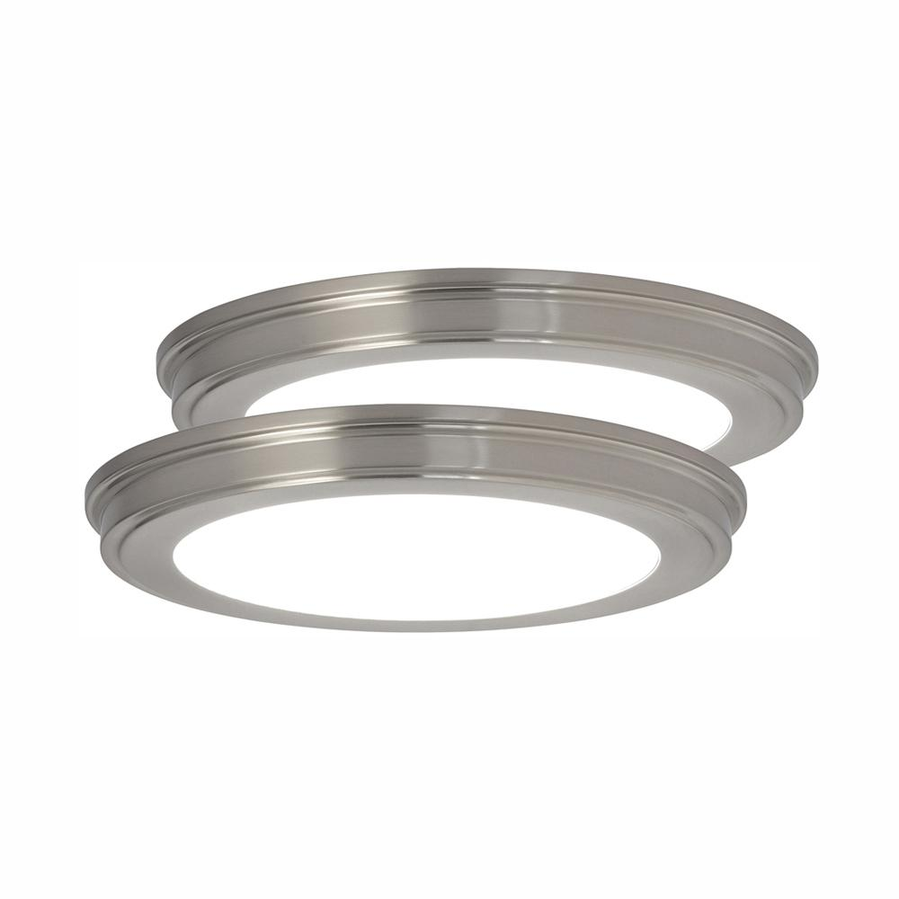 check out 69013 e08f5 Commercial Electric 13 in. Brushed Nickel Color Changing LED Ceiling Flush  Mount (2-Pack)
