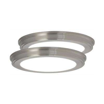 13 in. Brushed Nickel Color Changing LED Ceiling Flush Mount (2-Pack)
