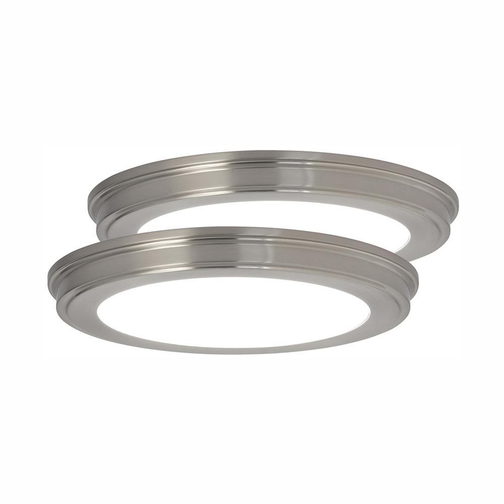 13 in. Brushed Nickel Color Changing LED Ceiling Flush Mount (2-Pack)