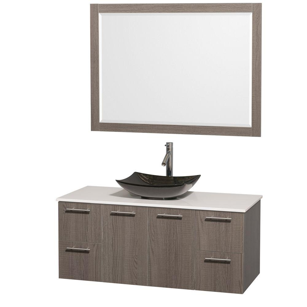 Wyndham Collection Amare 48 in. Vanity in Gray Oak with Solid-Surface Vanity Top in White, Granite Sink and 46 in. Mirror