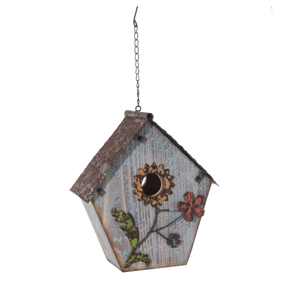 Sunjoy Wood Birdhouse Hand Painted With Flowers In Dusty Blue