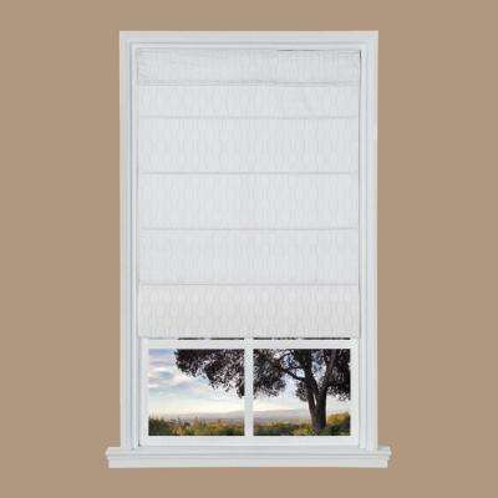 White Jacquard Cordless Fabric Roman Shades - 35 in. W x 64 in. L