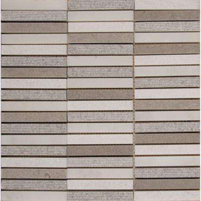 Linea 12 in. x 12 in. x 10mm Marble Mesh-Mounted Mosaic Tile (10 sq. ft. /  case)