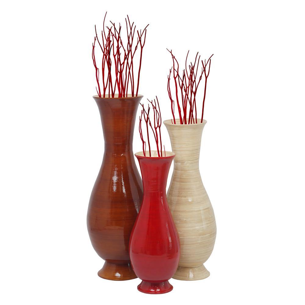 Set Of 3 Tri Red Natural Brown Color