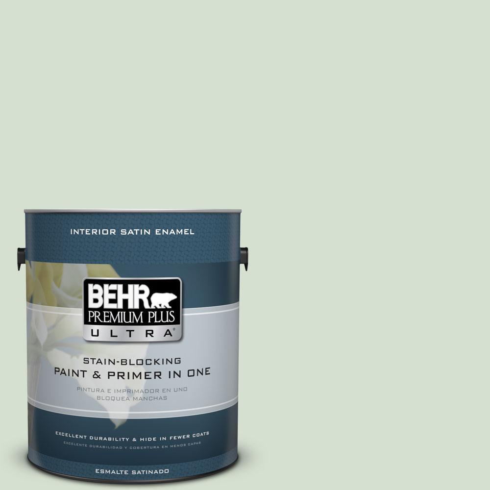 BEHR Premium Plus Ultra 1-gal. #S400-2 Comforting Green Satin Enamel Interior Paint