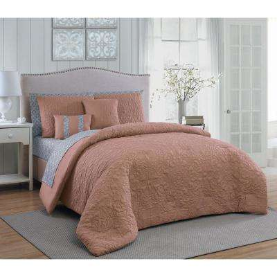 Melbourne 9-Piece Blush and Grey Queen Comforter Set