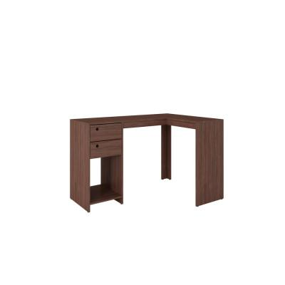 59 in. L-Shaped Nut Brown 2 Drawer Computer Desk with Built-In Storage