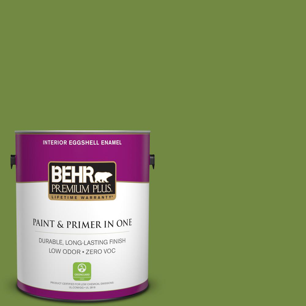 BEHR Premium Plus 1 gal. #MQ4-44 Green Dynasty Eggshell Enamel Zero VOC Interior Paint and Primer in One