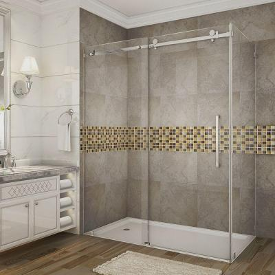 Moselle 60 in. x 33.4375 in. x 75 in. Completely Frameless Sliding Shower Enclosure in Chrome with Clear Glass
