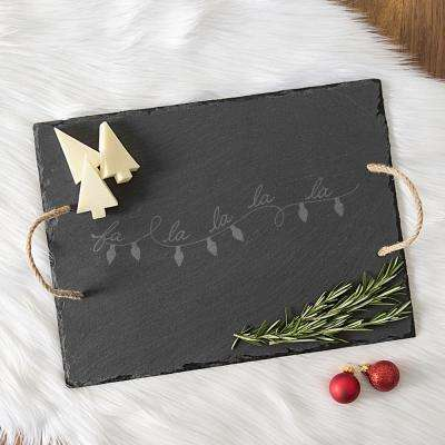 Fa La La Black Slate Serving Tray