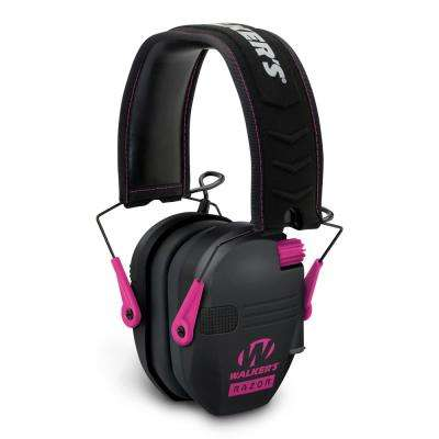Razor Slim Electronic Hearing Protection and Sound Amplification Ear Muff in Pink