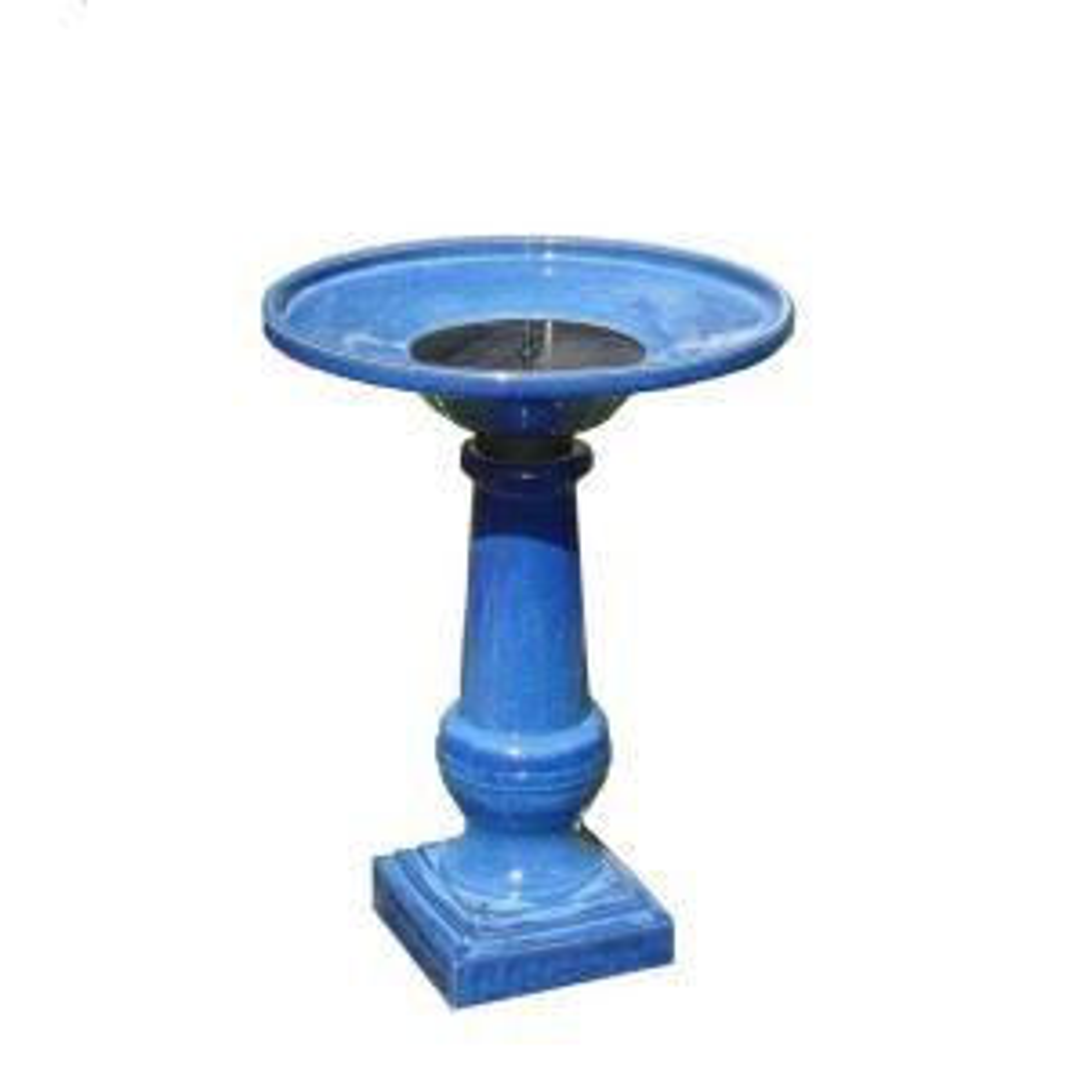 Smart Solar Athena Glazed Blue Ceramic Solar on Demand Birdbath Fountain by Smart Solar