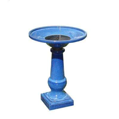 Athena Glazed Blue Ceramic Solar on Demand Birdbath Fountain