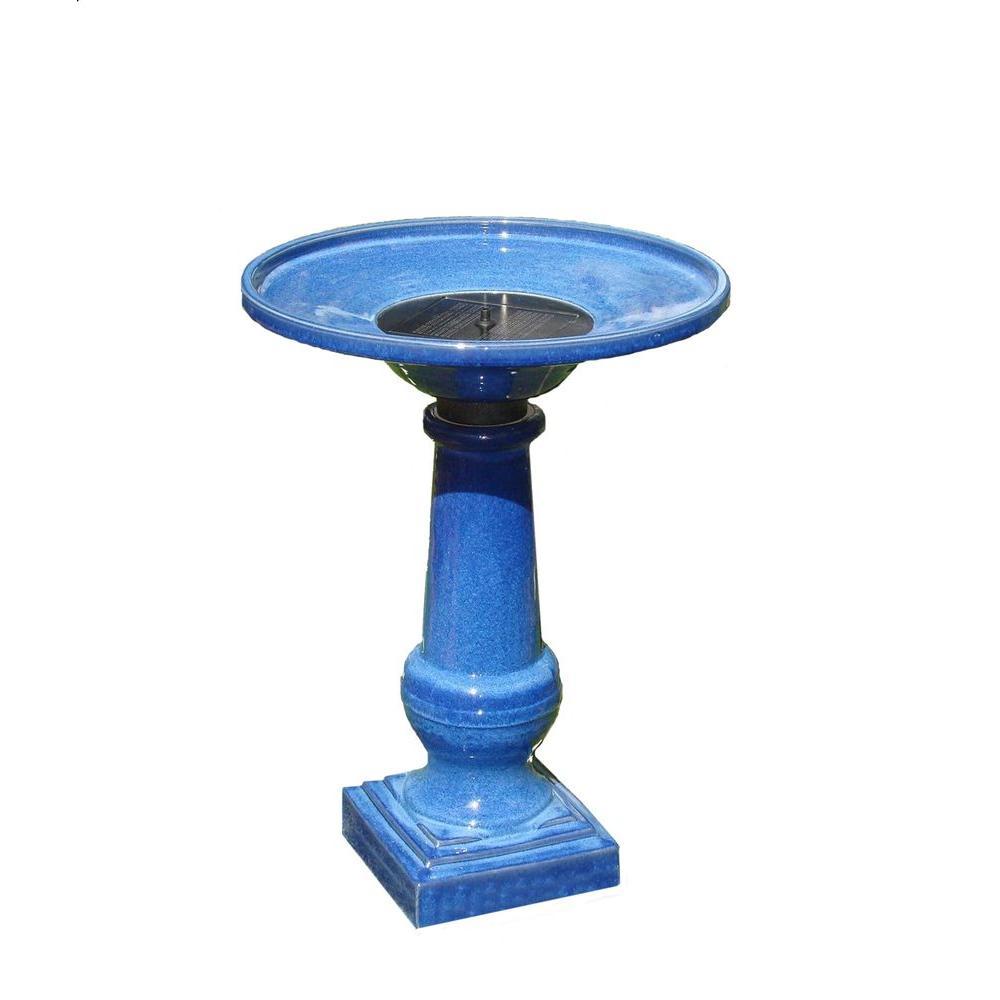 Athena Glazed Blue Ceramic Solar on Demand Birdbath Fountain