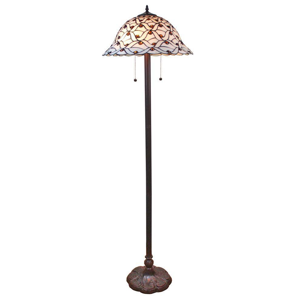 Amora Lighting 61 In Tiffany Style Jeweled Design Gl Pearl Floor Lamp