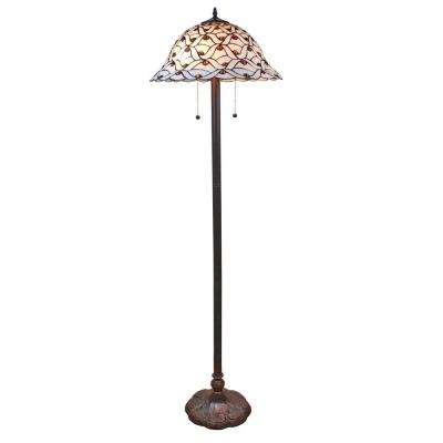 61 in. Tiffany Style Jeweled Design Glass Pearl Floor Lamp