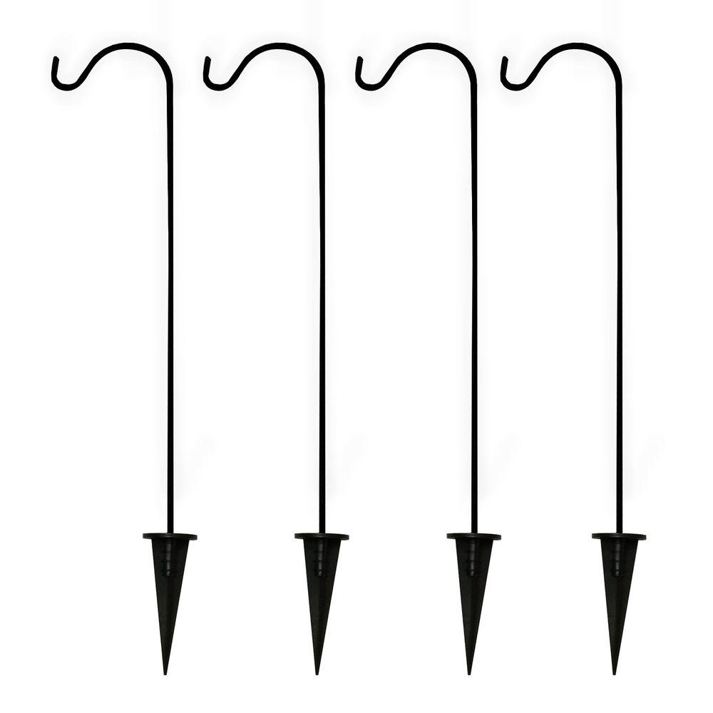 Shepherd Hooks Solar Light Garden Stakes In Black
