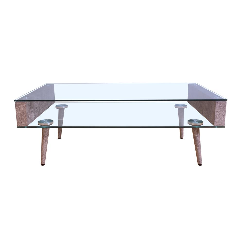 ACME Boyd Clear Glass and Gray Coffee Table, Clear Glass/...