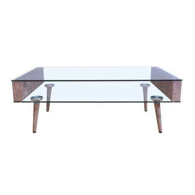 Boyd Clear Glass and Gray Coffee Table