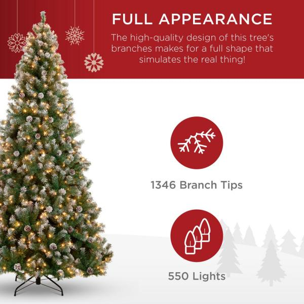 Best Choice Products 7 5 Ft Pre Lit Incandescent Flocked Pre Decorated Artificial Christmas Tree With 550 Warm White Lights Sky5886 The Home Depot