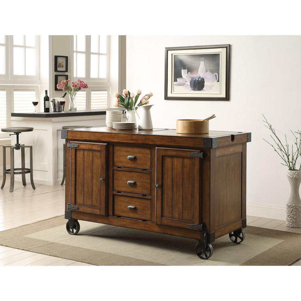 Distressed Island Kitchen | Acme Furniture Kabili Distressed Tobacco Kitchen Cart With Storage