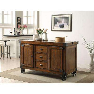 Kabili Distressed Tobacco Kitchen Cart with Storage