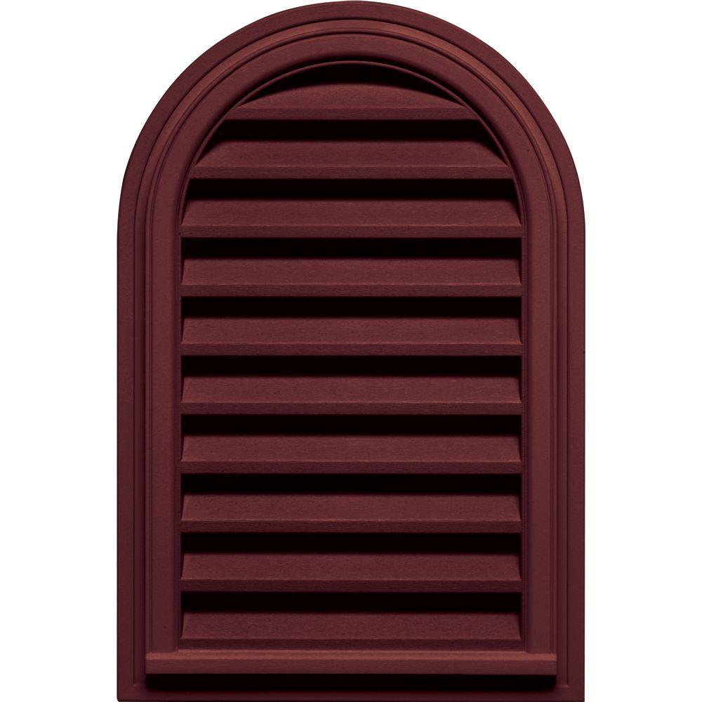 Builders Edge 22 in. x 32 in. Round Top Gable Vent in Wineberry