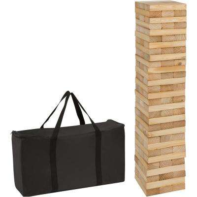 90-Piece 3 ft. Tall Giant Wooden Stacking Puzzle Game with Carry Case
