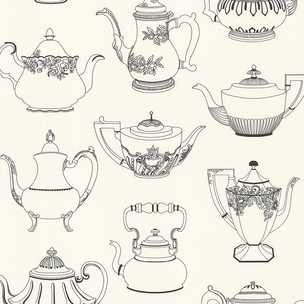 56.4 sq. ft. Valie Black Vintage Teapot Texture Wallpaper
