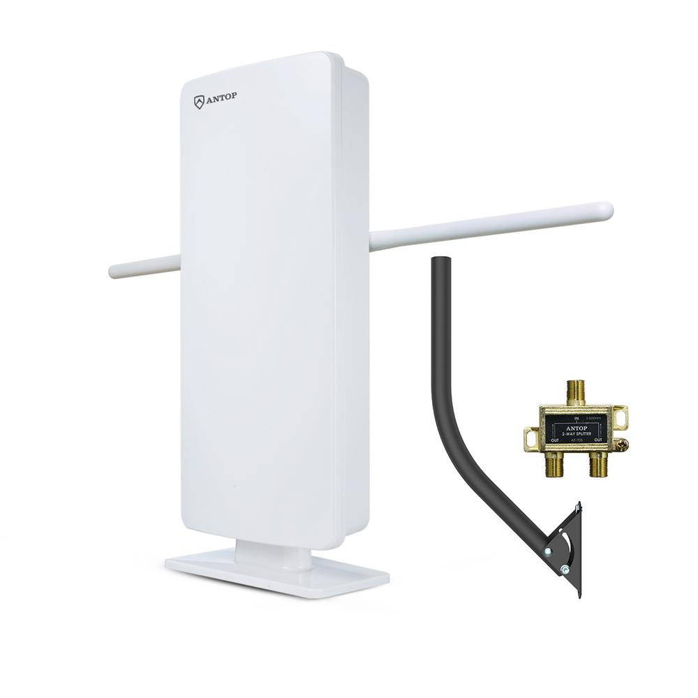 Antop Antop Flat-Panel Smartpass Amplified Outdoor/Indoor HDTV Antenna with Built-In 4G LTE Filter