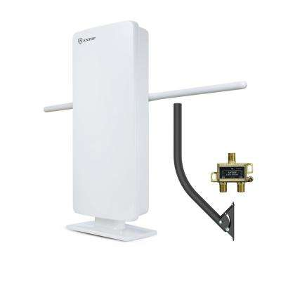 Flat-Panel Smartpass Amplified Outdoor/Indoor HDTV Antenna with Built-In 4G LTE Filter
