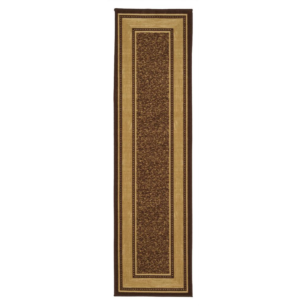 Ottomanson Ottohome Collection Contemporary Bordered Design Brown 2 ft. x 7 ft. Non-Skid Runner Rug