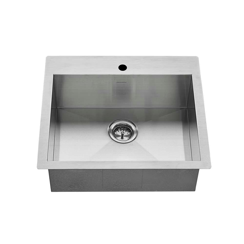 American Standard Edgewater Zero Radius Drop In Undermount Stainless Steel  25 in  1 Hole Single Bowl Kitchen Sink Kit 18SB9252211 075   The Home Depot. American Standard Edgewater Zero Radius Drop In Undermount