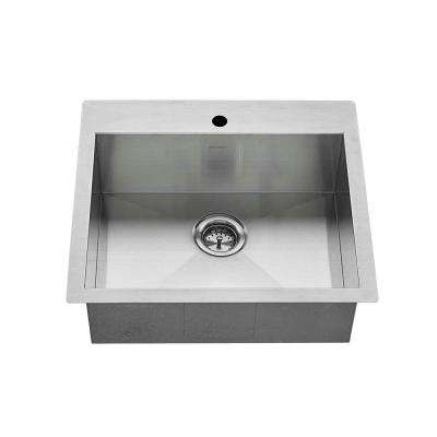 Edgewater Zero Radius Dual Mount Stainless Steel 25 in. 1-Hole Single Basin Kitchen Sink Kit