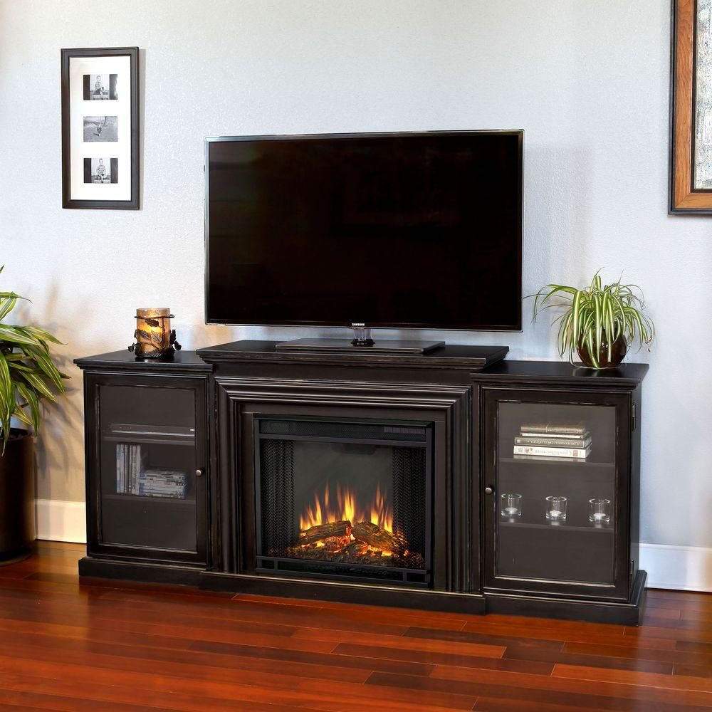 Give a mystic look that will brighten up your room by using this Real Flame Frederick Entertainment Media Console Electric Fireplace in Blackwash.