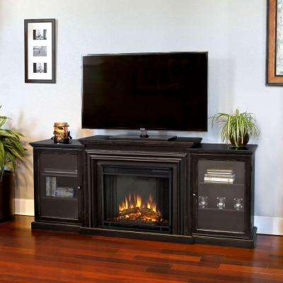 Frederick Entertainment 72 in. Media Console Electric Fireplace TV Stand in Blackwash