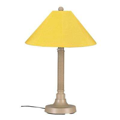 Bahama Weave 34 in. Mojavi Outdoor Table Lamp with Buttercup Shade