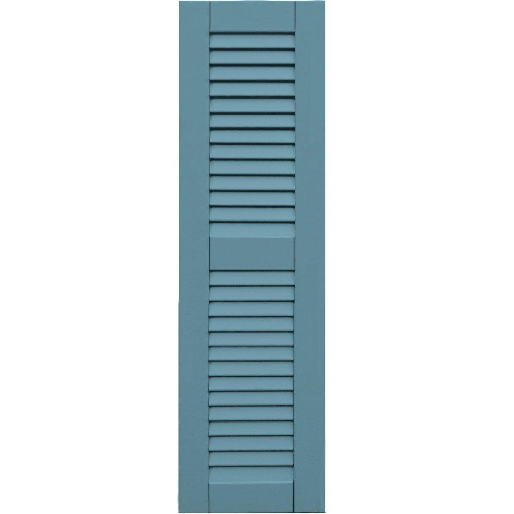 Wood Composite 12 in. x 42 in. Louvered Shutters Pair #645 Harbor