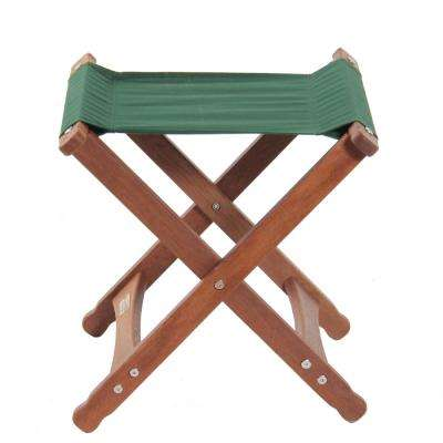 Keruing Wood Green Folding Stool
