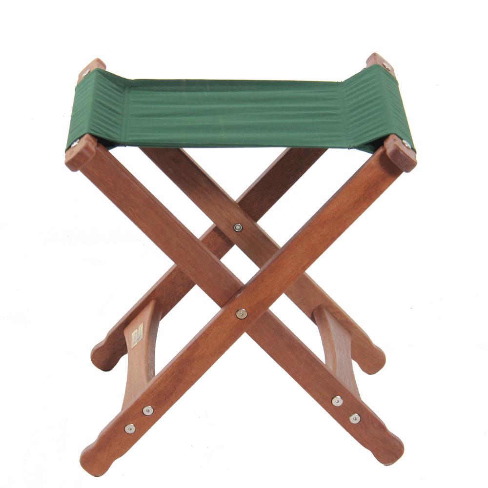 Keruing Wood Green Folding Stool