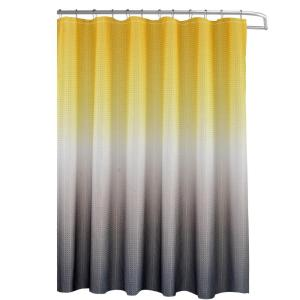 Ombre Waffle Weave 70 In W X 72 L Yellow Grey Shower Curtain