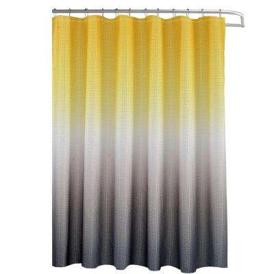 Ombre Waffle Weave 70 in. W x 72 in. L Yellow/Grey Shower Curtain with Beaded Rings
